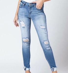 KanCan Mid Rise Distressed Ankle Skinny Jeans 29